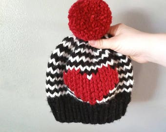 boys striped big heart hat, toddler heart hat, child valentines day hat, red heart hat, pink big heart hat, twin peaks hat,red, black, white