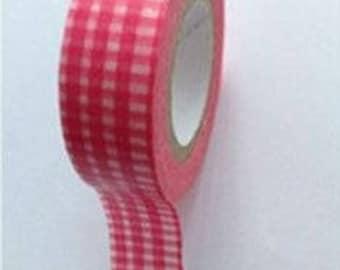 Washi Tape/Masking Tape/tape scrapbooking GINGHAM pink