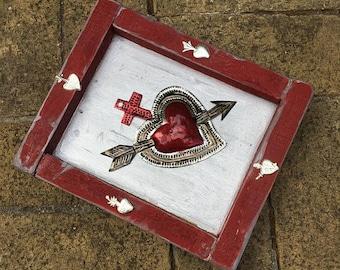 Sacred Heart Milagro-Ex Voto Heart-Milagros-Mexican Tin Folk Art-Shrine Altar- Sacred Space Meditation Room