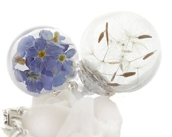 real * request & forget-me-not * true dandelions and forget-me-not flowers necklace
