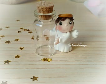 Angel boy favor with glass bottle baptism favors baby shower favors communion cake topper polymer clay favors