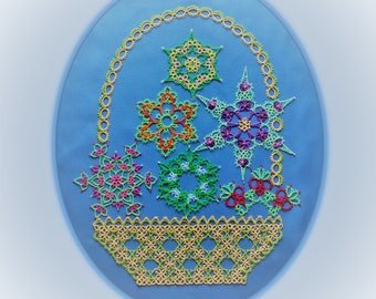 Basket of Flowers tatting pattern PDF, flowers tatted in white, with or without beads, make lovely snowflakes