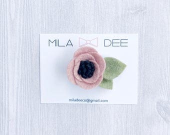 Rosy PinkFelt Flower on a Alligator Hair Clip • alligator clip • hair clip • little girl hair clip • baby headband •felt headband