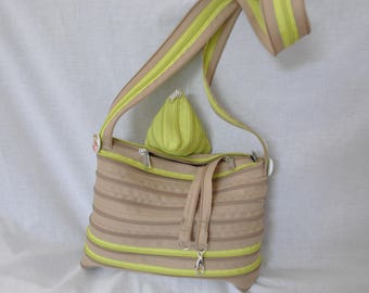 """bicolor shoulder bag caramel/Green Apple zipper brand """"lightning"""""""