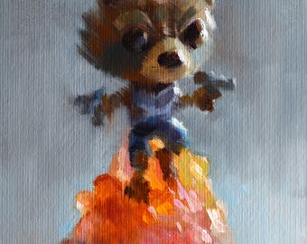 Rocket Racoon figure - original oil painting, alla prima oil painting, one of a kind