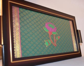 Decorative Tray with silk embedded Paithani Border