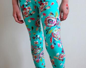 Floral leggings / Little girl leggings / Toddler leggings / Little girl pants / Toddler pants / Yoga pants