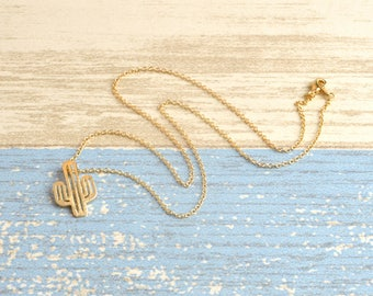 Necklace-gold plated - Cactus cactus gold - Cactus crew neck / 40% off / S079 top quality jewelry