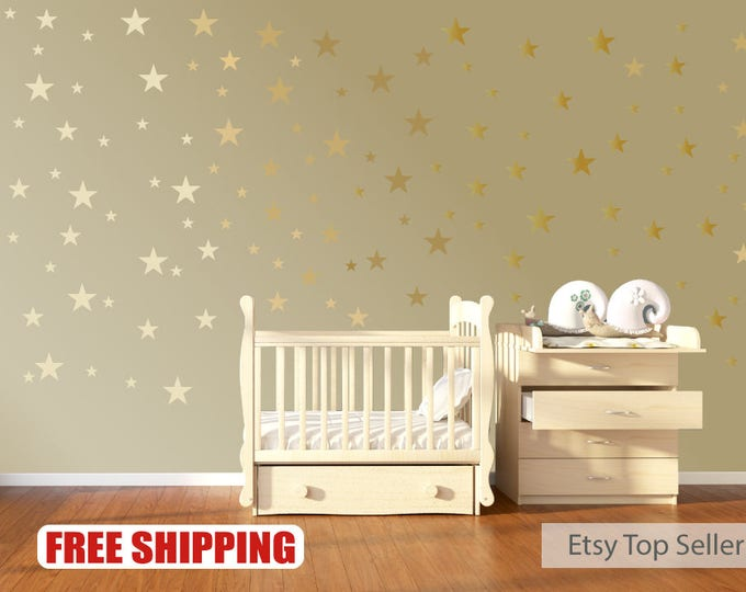 Featured listing image: 120 Gold Metallic Stars Nursery Wall Stickers
