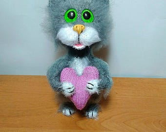 Cat Gifts for birthday Gifts for her Gifts for mom Cat lovers Valentine Gifts Soft toy Grey cat Gifts for children Wool toy Tiny cat Toy
