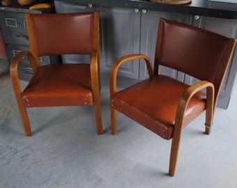 Pair of armchairs Steiner Bow Wood vintage