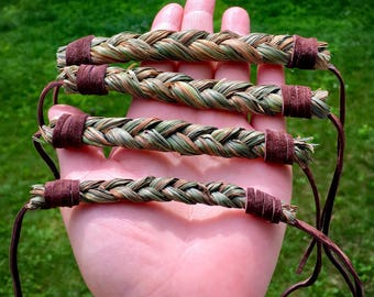 Sweetgrass Bracelet With Leather Lace - Lakota - Sioux - Authentic Native American - Sacred Grass - Boho Jewelry - Native American Jewelry