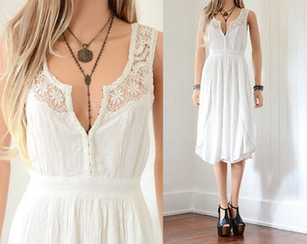Boho Lace Dress White Lace Wedding Dress Lace Dress Bohemian Wedding Dress Boho Wedding Dress Vintage Prairie Dress Cowgirl Wedding Lace xs