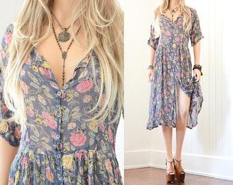 Boho Floral Dress 90s Grunge Dress Floral Maxi Dress 90s Dress 90s Floral Dress Bohemian Boho Dress 90s Clothing Vintage Floral Dress S