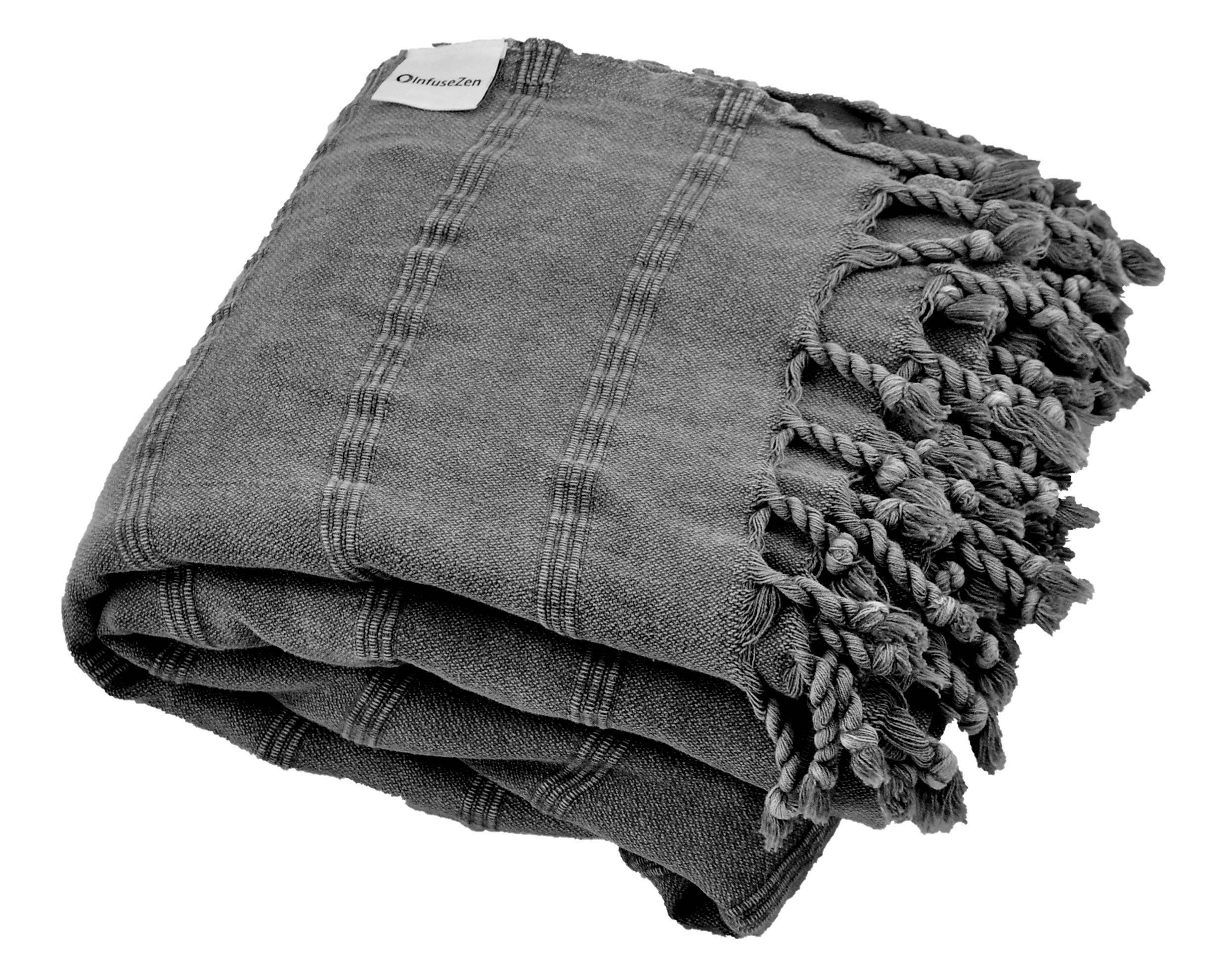 Charcoal Grey Faded Black Turkish Blanket Stonewashed
