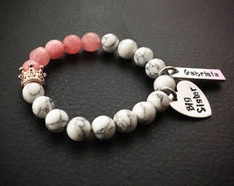 Big sister natural stones bracelets/ personalized bracelet