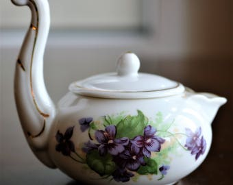 Vintage Lefton Creamer with Violets and Long Handle