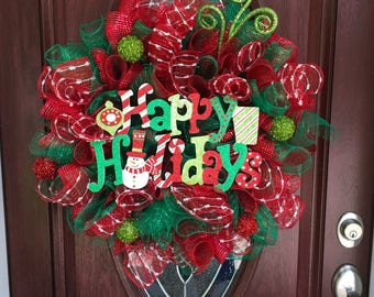 Happy holidays wreath, deco mesh Christmas wreath, Christmas wreath, Christmas door decor, outdoor wreath,  Christmas decor