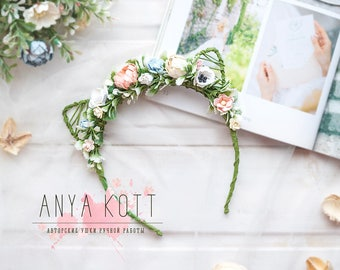 Floral Head Wreath, Cat Woman Hairband, Floral Crown Wedding, Flower Crown, cat ears, Children's size, baby headband kit