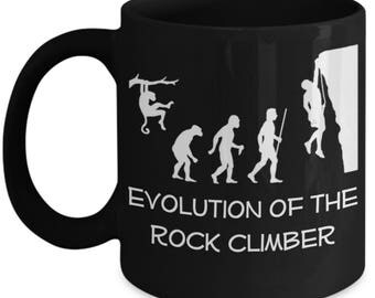 Funny Climbing Mugs - Evolution Of The Rock Climber - Ideal Climber Gifts