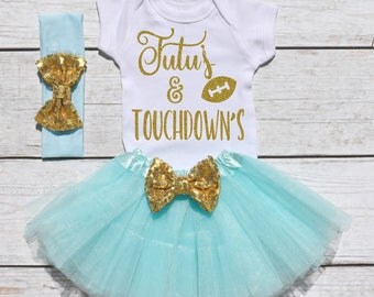 Tutu's and Touchdown's. Girls Football Tutu Outfit. Football Outfit. T19 FBL (AQUA)