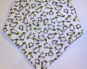 Baby Dribble Bib. Bandana Bib. Penguins. Ready to Send.