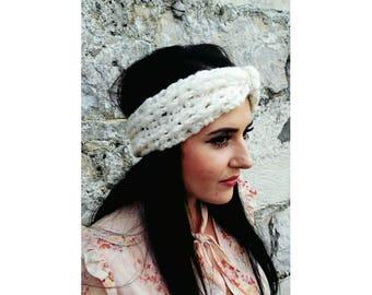 Ear warmer headbands, Winter ear warmer, Turban headband women, Turban headband adult, Turban headband winter, Ivory ear warmer, Wool