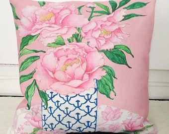 Cushion cover pillow Asian Chinoiserie, decorative pillow cover, linen and cotton, home decor. Tropical design