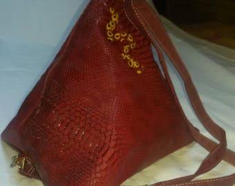 faux Burgundy pyramid shape bag
