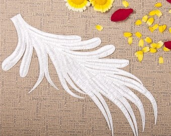 2 PC White Embroidery Leaf Lace Applique DIY Patch Dress Clothing Accessories,   WL1604