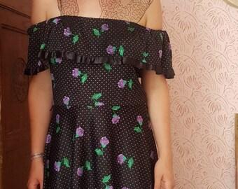 Vintage Gypsy Boho Folk Bardot Floral Maxi Dress Size S/M