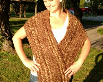 Hand Knit Chunky Brown Cowl Infinity Scarf/Shawl Free Shipping