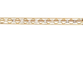 "Estate 10k Yellow Gold Vintage Bar Brooch Pin Genuine Freshwater Pearl Solid 2.5"" long 2.7g Embossed Victorian Marked 10 k kt 10kt Antique"