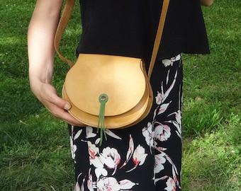Handmade Leather Cross Shoulder Bag Full Grain Hand Stitched