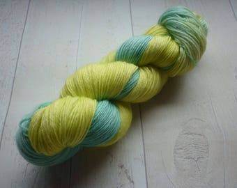 Sandbanks Hand dyed 4 ply sock yarn blue yellow beach waves sea coast dorset