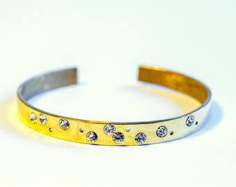 Bangle bracelet brass or polished shiny swarovski crystals