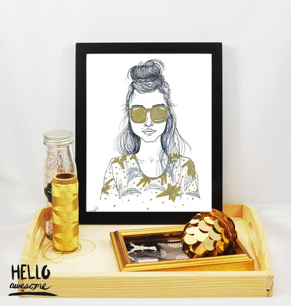 Palm Beauty Topknot Bun Modest Fashion Illustration 8x10 Print