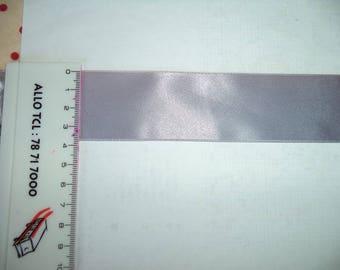 light grey satin ribbon width 3.5 cm new