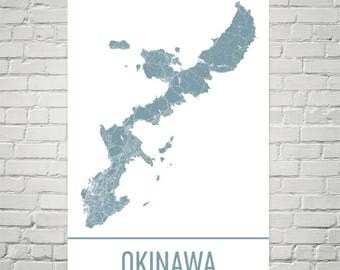 Okinawa Map, Okinawa Art, Okinawa Print, Okinawa Japan Poster, Okinawa Island Wall Art, Japanese Gifts, Map of Japan, Japanese Art, Print