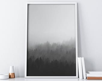 Printable Forest Art | Foggy Mountains Wall Art| Black and White Home Decor| Woodland Wall Decal| Tumblr Room Decor| Minimalist Poster