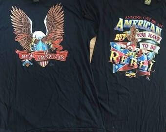 2 vintage deadstock 1980s 3D Emblem t shirts size XL and M