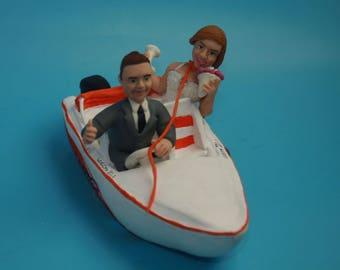 Boating Wedding Cake Topper - Yachting Wedding Cake Topper - Sailboat Wedding Cake Topper - Bride and Groom in Boat, Gondola Wedding Cake To