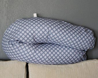 Large gray cotton fabric nursing pillow stars