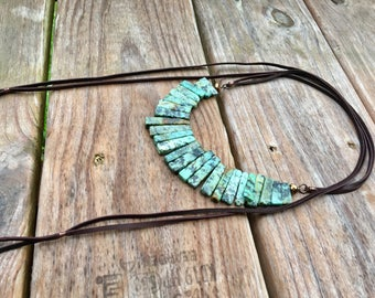 Leather Wrap w/Strand Necklace- african turquoise
