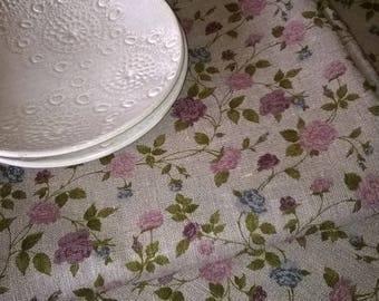 TABLECLOTH 100% linen floral pink 135 cm x 200 cm