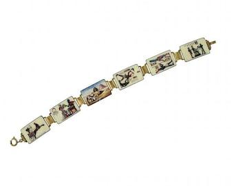 1920s Enamel Egyptian Revival Vintage Bracelet