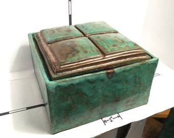 Large pottery Ceramic Box, 1 of a kind, Signed, numbered, dated, green & gold glazed pottery box with lid, unique copper patina and gold