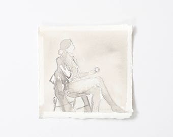 Little Grey Lady with Apple / Figure Painting / Original Watercolor / Naked Lady Art / Nude Drawing