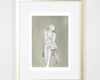 Grey Girl in Chair  / Figure Painting / Print of Original Watercolor / Naked Lady Art / Nude Drawing
