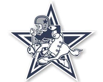 Dallas Cowboys 1960-1970 Mascot with Star Die Cut Decal